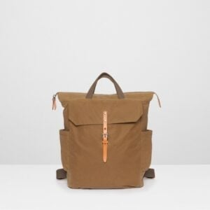 Ashley Waxed Cotton Utility Rucksack In Khaki