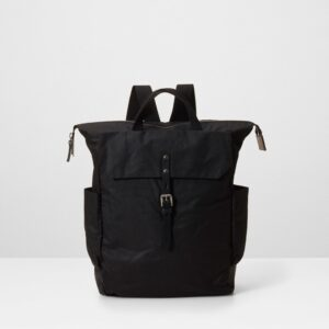 Ashley Waxed Cotton Rucksack In Black