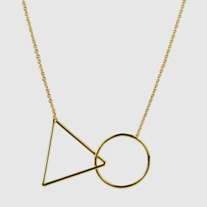 Triangle & Circle Necklace, Short, Gold