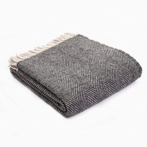 New Wool Blanket Herringbone Charcoal Silver