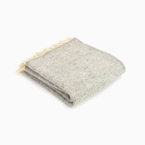 New Wool Blanket Fishbone Silver Grey