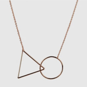 Triangle & Circle Necklace, Short, Rose