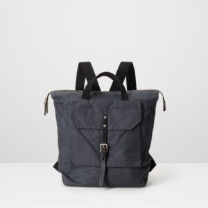 Frances Waxed Cotton Rucksack In Grey