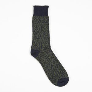 Pattern Sock In Navy/Olive Cotton