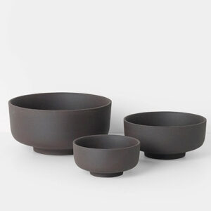 Sekki Bowls, Set of Three, Charcoal