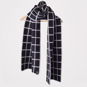 Grid Scarf, Wide, Black And White