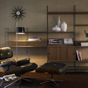 String Shelf System in Walnut & Black configuration 1