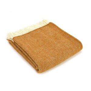 New Wool Blanket Herringbone Mustard