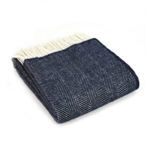 New Wool Blanket Herringbone Navy