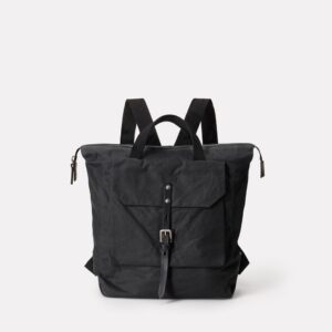 Frances Waxed Cotton Rucksack in Black