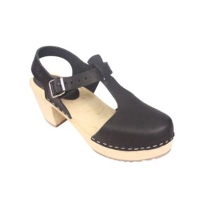 High Heel T-Bar Clog in Black Leather