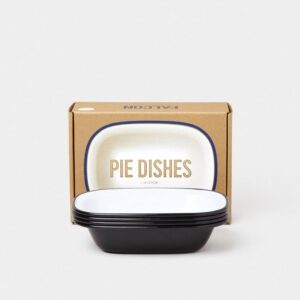 ENAMELWARE PIE DISHES, COAL BLACK