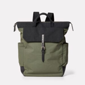 Fin Waxed Cotton Back pack Olive and Black