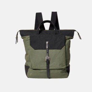 Frances Waxed Cotton Back pack Olive and Black