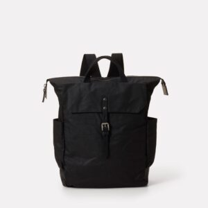 Fin Waxed Cotton Utility Rucksack in Black