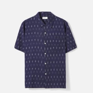 Road Shirt in Navy Ikat Lines