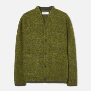 Cardigan In Green Wool Fleece
