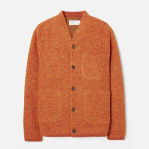 Cardigan In Orange Wool Fleece