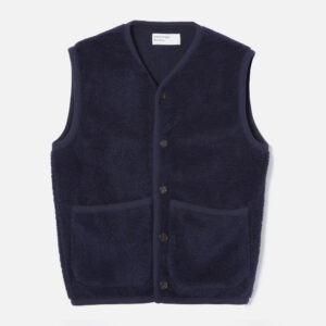 Lancaster Gilet In Navy Mountain Fleece