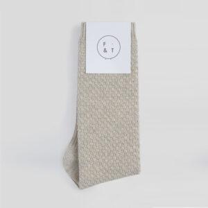 Waffle Socks, Natural Stone