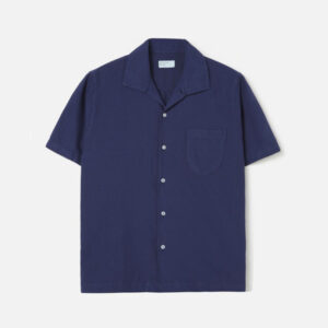Open Collar Shirt In Blueprint Oxford