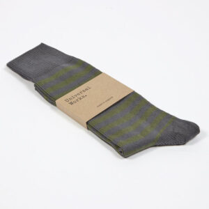 green and grey stripe sock