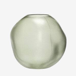textured round glass vase, green