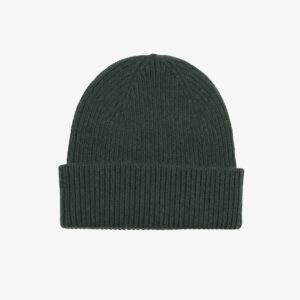 Merino Wool Beanie, Dark green