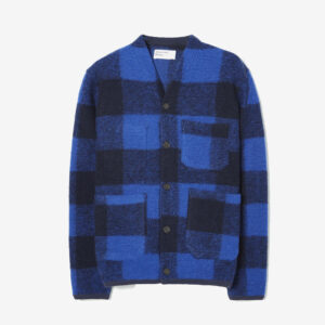 Cardigan in wool fleece, blue check