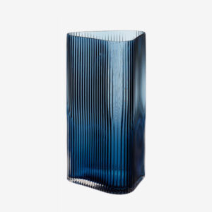 Tall textured glass vase, blue