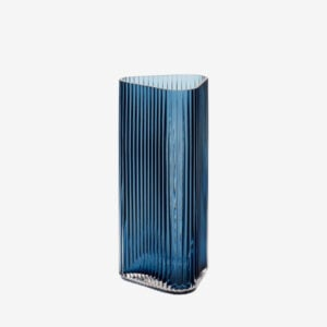 textured glass vase, blue