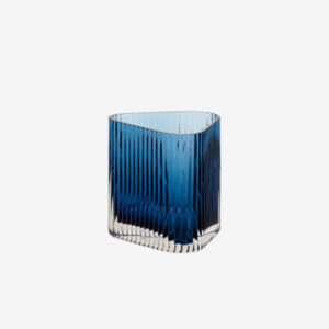 small textured glass vase, blue