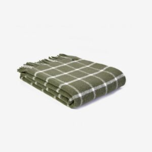 Triangle Wool Blanket Olive Check