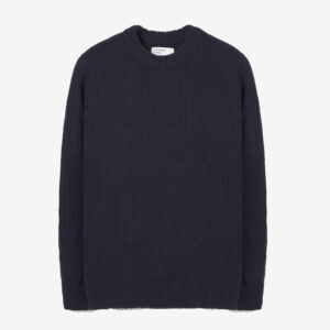 Loose crew in navy rack stitch knit