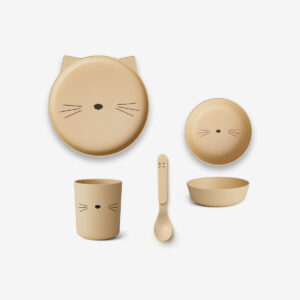 Bamboo Tableware Box Set - Cat smoothie yellow