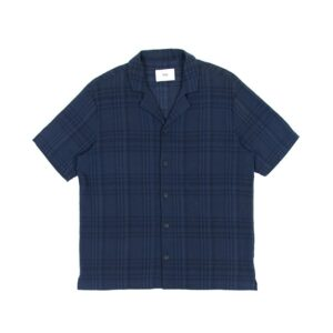 Over-dyed Crepe Check Navy shirt