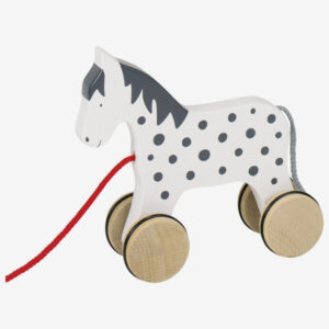 Wooden pull-a-long horse