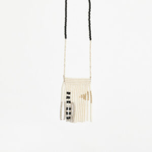 Gold and taupe Pembetatu tassel necklace