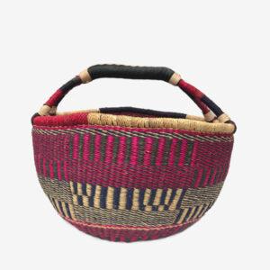 Bolga Basket Pink, natural, navy