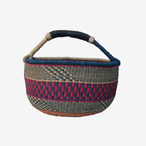 Bolga Basket Pink, natural, navy