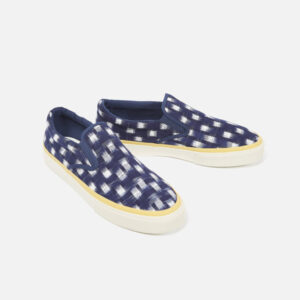Universal Works X Sebago Jack In Indigo Double Ikat Square Shoes