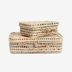 Woven palm leaf suitcase