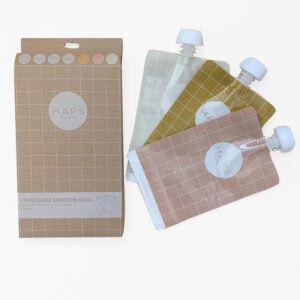 Haps Nordic, reusable smoothie bags x 3 warm colour