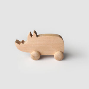 push along wooden rhino