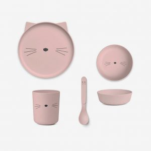 Liewood, Bamboo Tableware Box Set - Cat blush pink