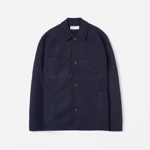 Universal Works Wool Fleece Lumber Jacket Navy
