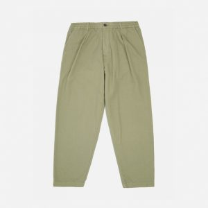 Universal Works Canvas Pleated Track Pant, Olive