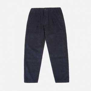Universal Works Cord Pleated Track Pant, Navy