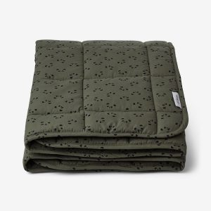 Liewood Ebbe quilted blanket, Panda Hunter green