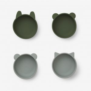 Liewood, Iggy Silicone bowls - 4 pack Hunter Green mix